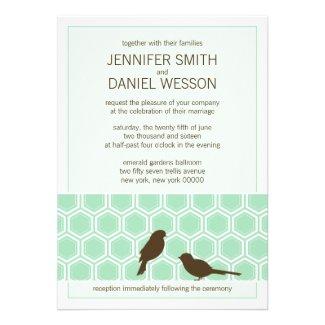 Mint Green Honeycomb Pattern Love Birds Wedding Announcements