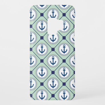 Mint Green Nautical Anchor Pattern Case-Mate Samsung Galaxy S9 Case