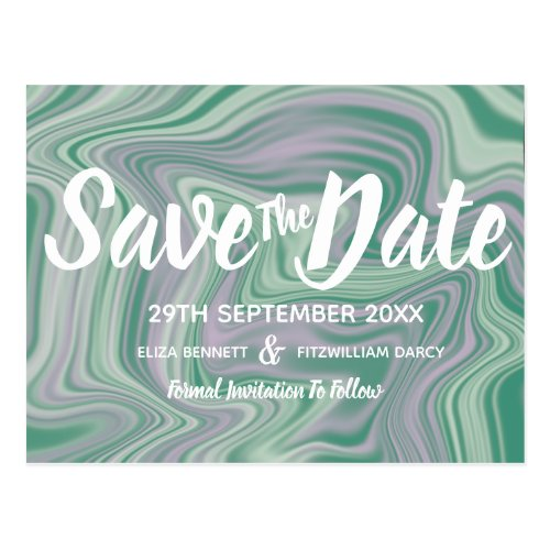 Mint Green &amp&#x3B; Rose Pink Marbled Save the Date Postcard