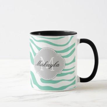Mint Green White Zebra Stripes with monogram Mug