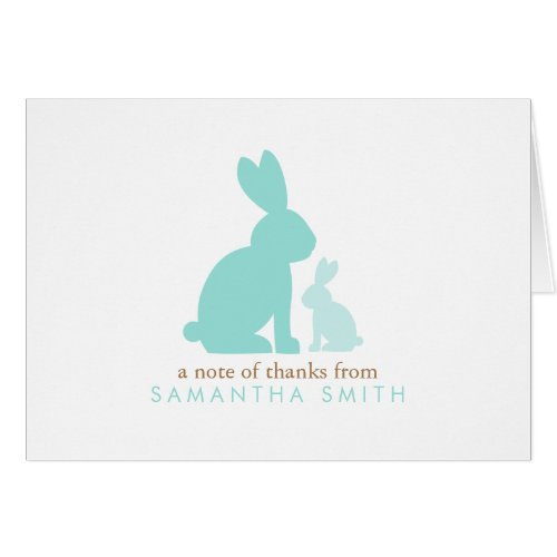 Mint Mom and Baby Rabbits Thank You Notes