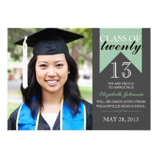 Mint Ribbon Class Of 2013 Graduation Announcements