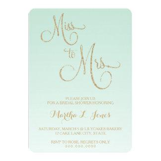Miss To Mrs Bridal Shower Invitation Gold Mint Fad