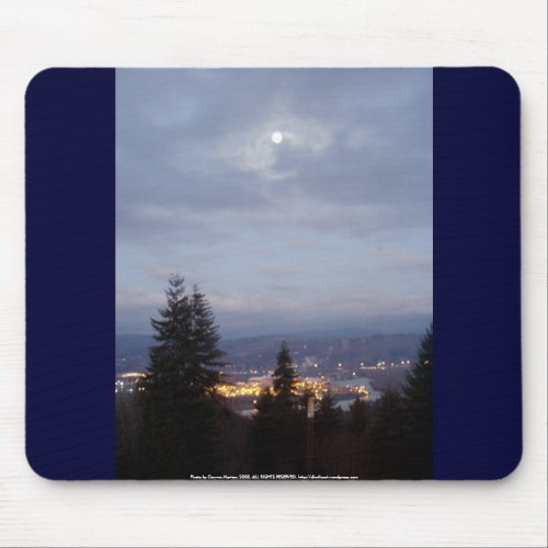 Misty Moon Over the Columbia River mousepad