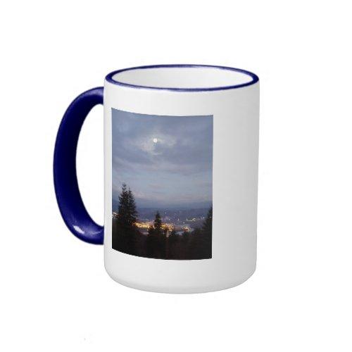 Misty Moon Over the Columbia River mug