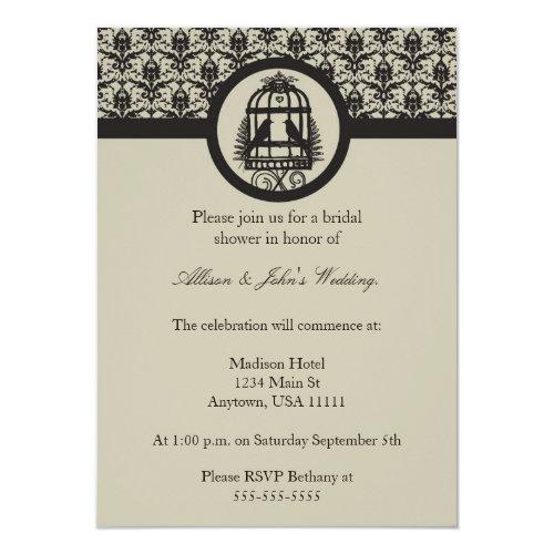 Mocha Lovebird Cage Bridal Shower Invitation
