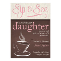 Mocha Rustic New Baby Sip See Party Invitation