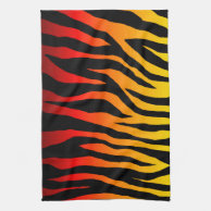 Mod Fiery Red-Orange and Yellow Zebra Kitchen Towels on Zazzle