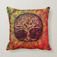 Modern Abstract Tree of Life Heart Throw Pillow