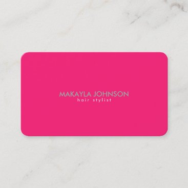 Modern and Minimal Hot Pink Hair Stylist Appointment Card