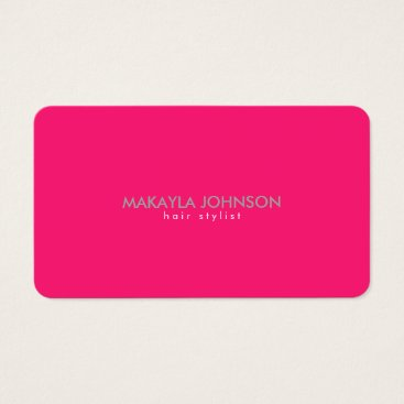 Modern and Minimal Hot Pink Hair Stylist Business Card