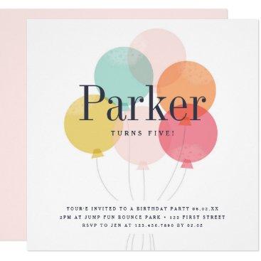 Modern ballon bunch birthday party invitation