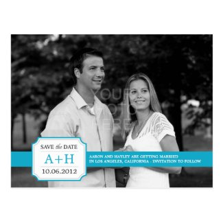 Modern Band Save The Date Postcard (Turquoise)