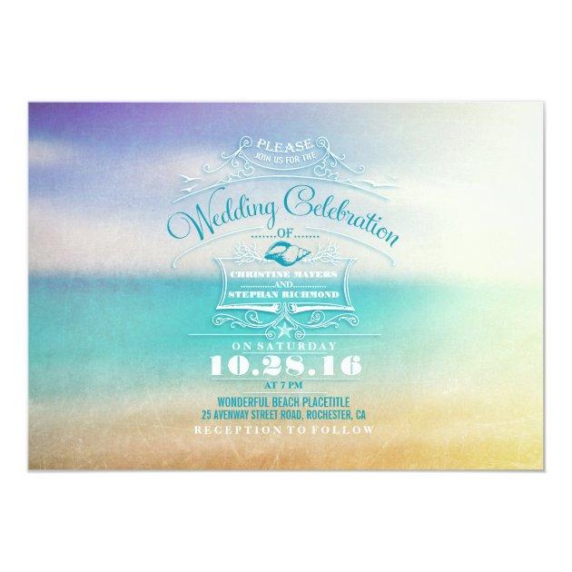 Modern Beach Wedding Invitation Tropical Blue Sea Card