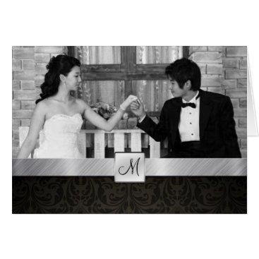 Modern Black Damask and Silver Wedding Thank you Card