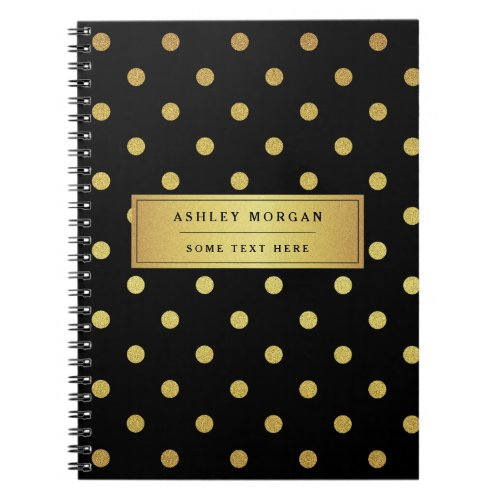 Modern Black Gold Glitter Polka Dots Notebook