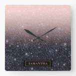 Modern Black & Pink Glitter Sparkles Name Square Wall Clock