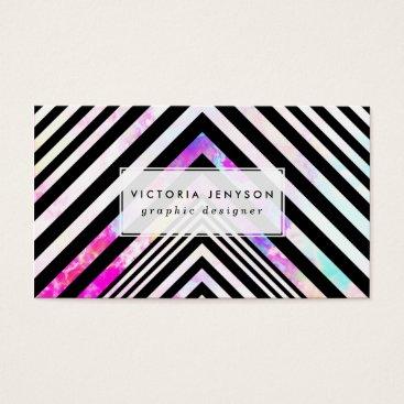 Modern Black White Chevron Pink Teal Clouds Nebula Business Card