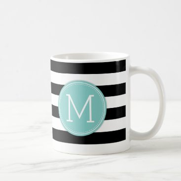 Modern Black & White Stripes with Blue monogram Coffee Mug