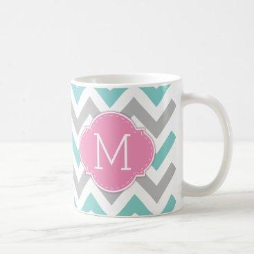 Modern Blue and Grey Chevron Pattern with monogram Coffee Mug