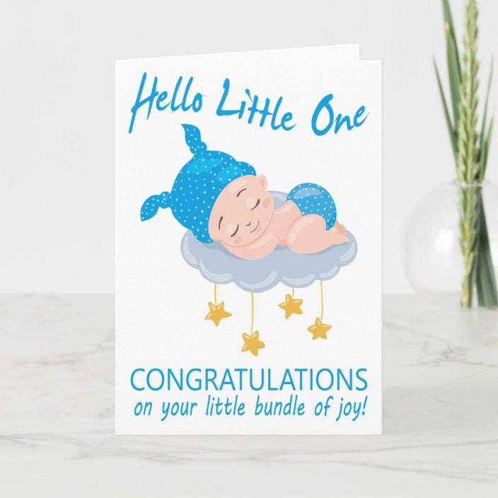 Modern Blue Baby Boy I New Baby Congratulations Card Zazzle Com