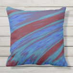 Modern Blue Red Color Abstract Design Throw Pillow