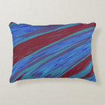 Modern Blue Red Color Swish Abstract Decorative Pillow