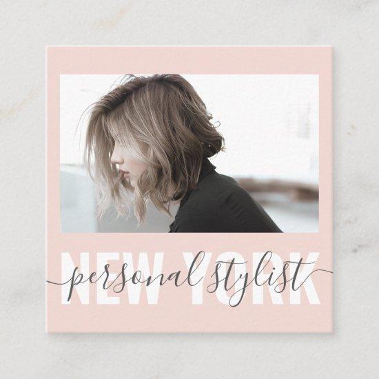 Modern blush pink fashion stylist signature photo square business card