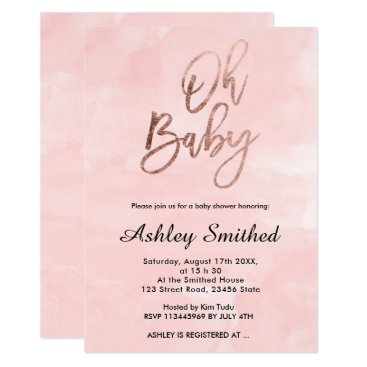 Modern blush pink watercolor chic Oh baby shower Invitation