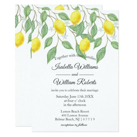 Modern Boho Lemon Summer Wedding Invitation