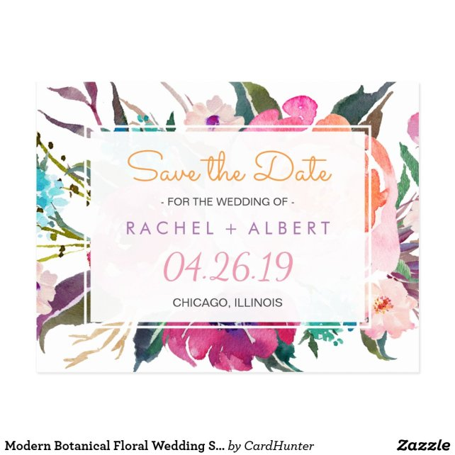 Modern Botanical Floral Wedding Save the Date
