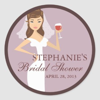 Modern Bride Wine Theme Bridal Shower Favor Sticker