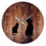 Modern cat dog silhouettes on rustic dark wood large clock