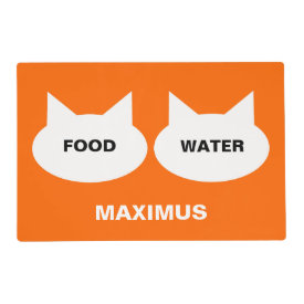 Modern Cat Silhouette Personalized Pet Placemat Laminated Placemat