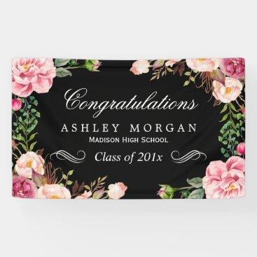 Modern Classy Floral Congrats Graduation Party Banner