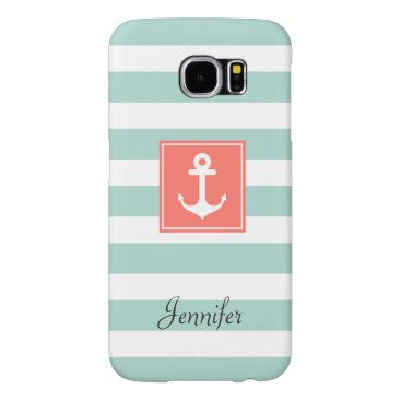 Modern Coral Nautical Anchor Mint White Stripes Samsung Galaxy S6 Case