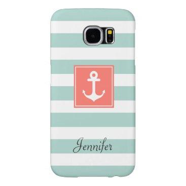 Modern Coral Nautical Anchor Mint White Stripes Samsung Galaxy S6 Case