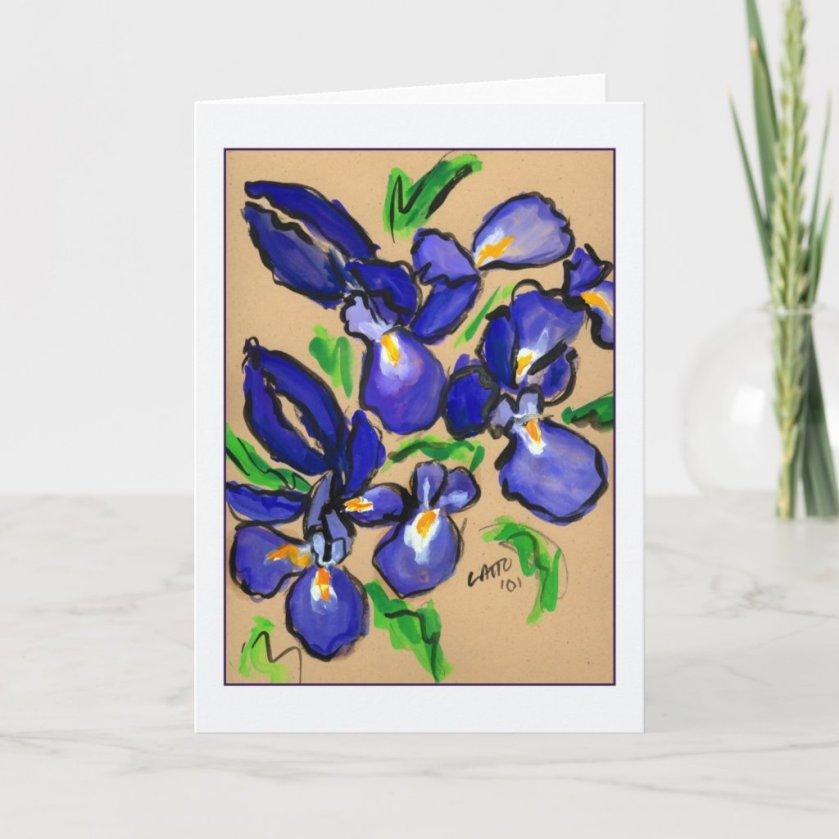 Modern Dance Iris Painting Greeting Card