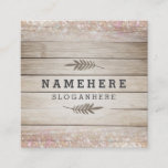 Modern Dark Wood Glitter Square Business Card