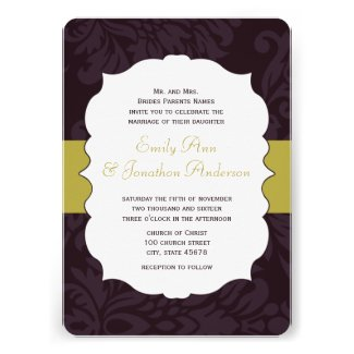 Modern Eggplant and Lime Damask Wedding Invite