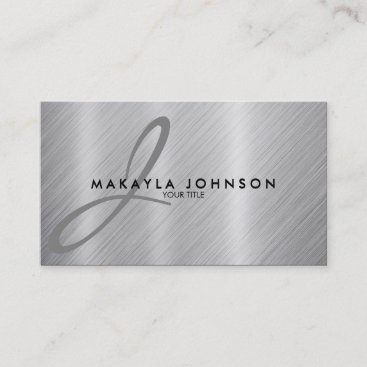 Modern & Elegant Gray Monogram Brushed Aluminum Business Card