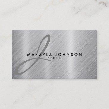 Modern & Elegant Gray Monogram Brushed Aluminum Business Card