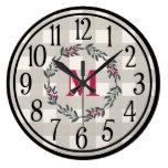 Modern Farmhouse Style Monogrammed Large Clock