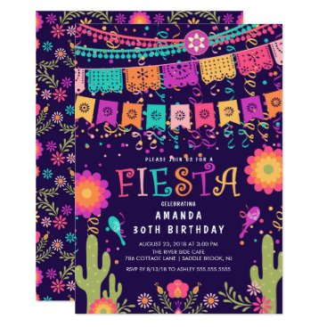 Modern Fun Let's Fiesta Birthday Party Invitation