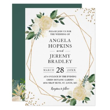 Modern Geometric Frame Nature Green Floral Wedding Invitation