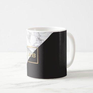 Modern Geometric Marble/Black Monogram Logo Coffee Mug