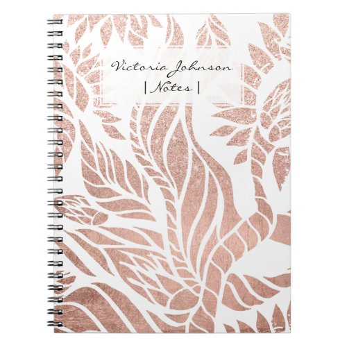 Modern geometric rose gold botanical floral spiral notebook