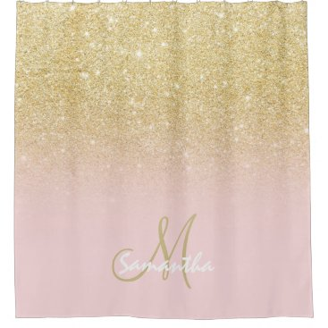 Modern gold ombre soft pink block personalized shower curtain