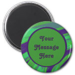 Modern Green Blue Color Swish 2 Inch Round Magnet