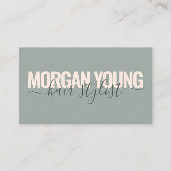 Modern green pink hair stylist script signature business card